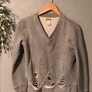 V-Neck Pepin Sweatshirt with Cut Out Designs